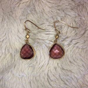 LOFT Ann Taylor Mauve and Gold Earrings